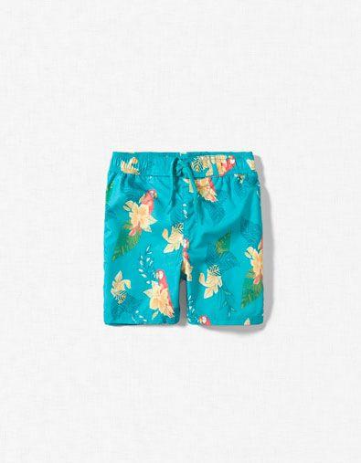HIBISCUS AND PARROT SWIMMING SHORTS - Beachwear - Boy (2-14 years) - Kids - ZARA United Kingdom