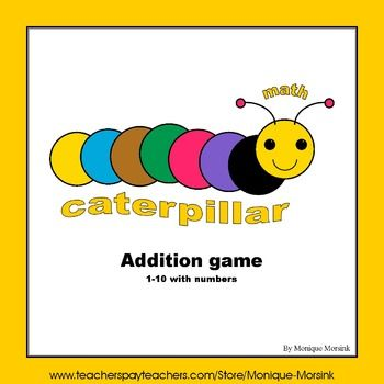 Caterpillar Addition Game with numbers - 1 to 10.This is a fun addition board game for two players.