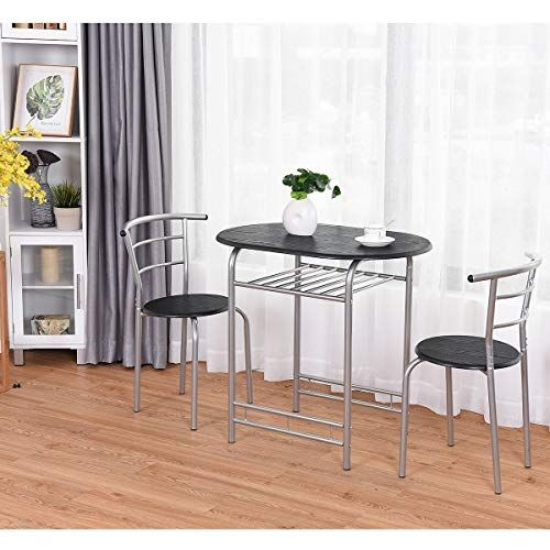 T Bistro Dining Set Table And 2 Chairs Kitchen Furniture Pub Home Restaurant Table Chair Sets 3 Metal Dining Table Dining Furniture Sets Dining Table Setting