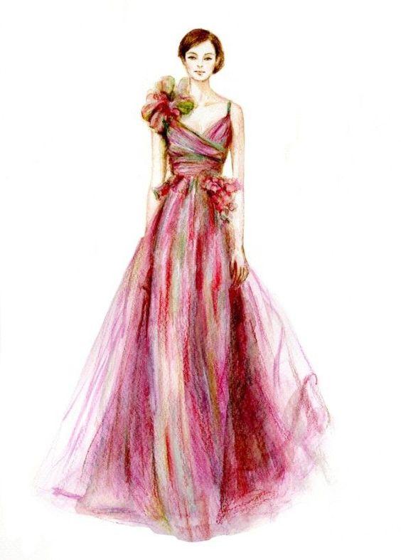 fashion illustration colour pencil sketches google