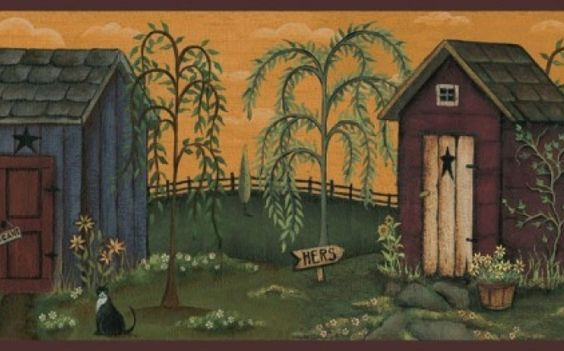Country Bath Wall Border Primitive Country Outhouse Wall Border 123abc Pinterest Country
