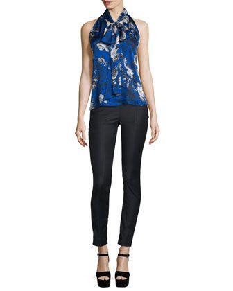 Sleeveless+Floral+Silk+Tie-Neck+Top+&+Straight-Leg+Stretch-Wool+Pants+by+Prabal+Gurung+at+Bergdorf+Goodman.