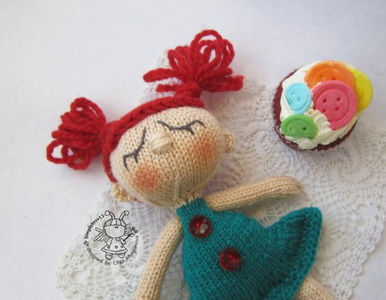 Toy for sleep. Doll  for small babies- knitting pattern (knitted round). Amigurumi doll
