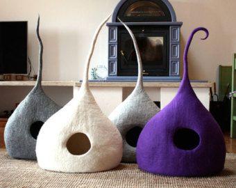 "Cueva para gatos ""Drop"", cama para gatos, 100% lã Made in Italy"