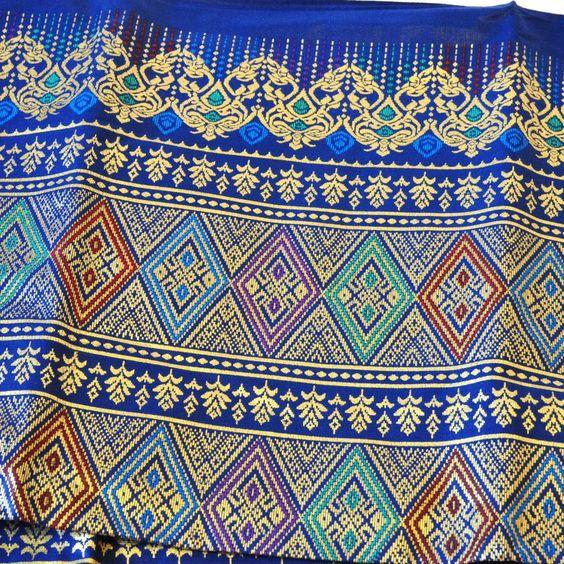 Stoff Polyester Überwurf Tischdecke Decke 1x2m dunkelblau gold
