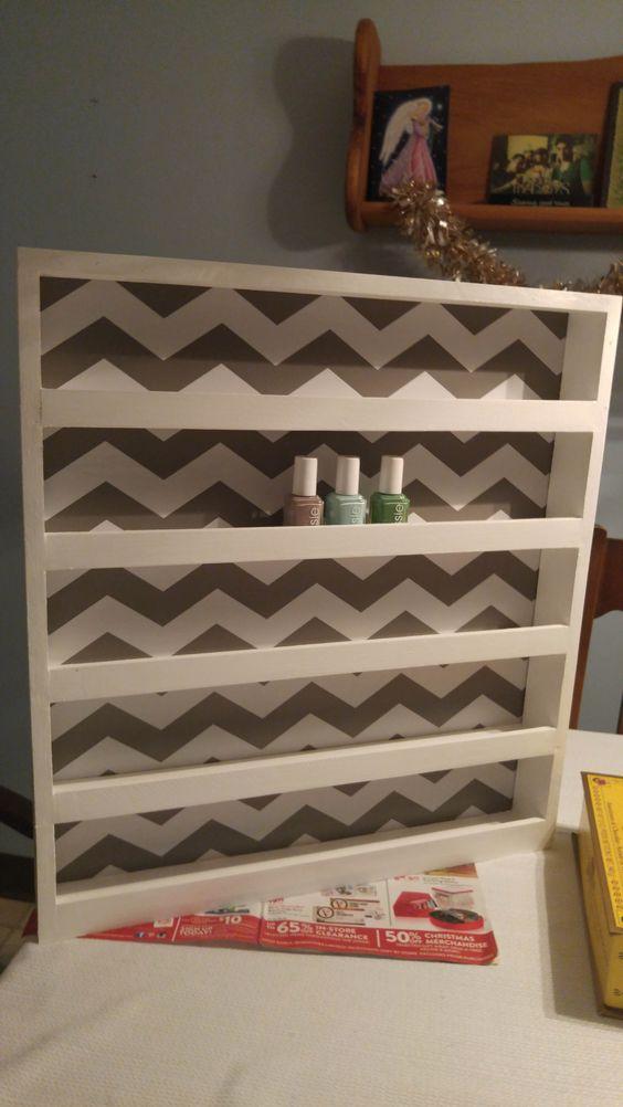 DIY Nail polish rack with Chevron