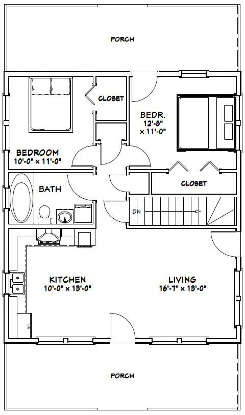 lovely 28 x 32 garage plans #5: 28x32 House -- #28X32H2K-- 848 sq ft - Excellent Floor Plans | Plans |  Pinterest | Garage plans, House and Tiny houses