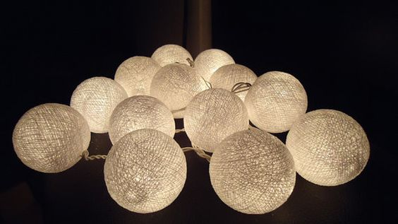 20 White cotton ball lights fairy string lantern by MORELIGHTS