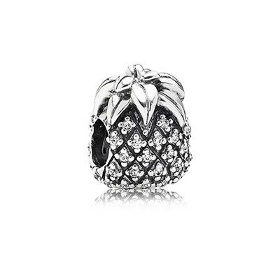 PANDORA's sweet pineapple charm has a unique, sparkling texture from 47 hand-set stones - perfect for bringing an exotic flavor to your collection. $60 #PANDORAcharm #SS14 #SummerCollection