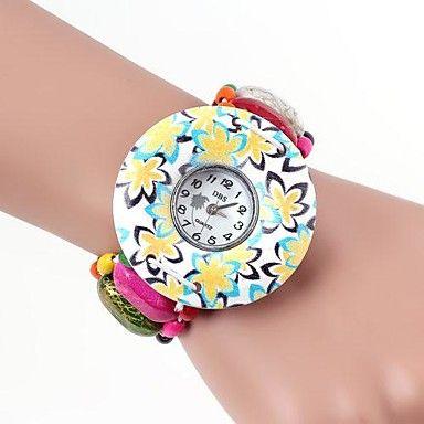 Flower Pattern Colorful Band Metallic Bracelet Watch(1pc)   – GBP £ 5.10