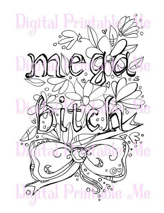Swear Word Coloring Book Page Printable Mega By Digitalprintableme Swear Word Coloring Book Words Coloring Book Swear Word Coloring