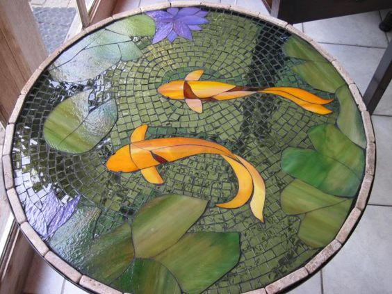 Photos photo mosaic and mosaic tables on pinterest for Koi fish pool table