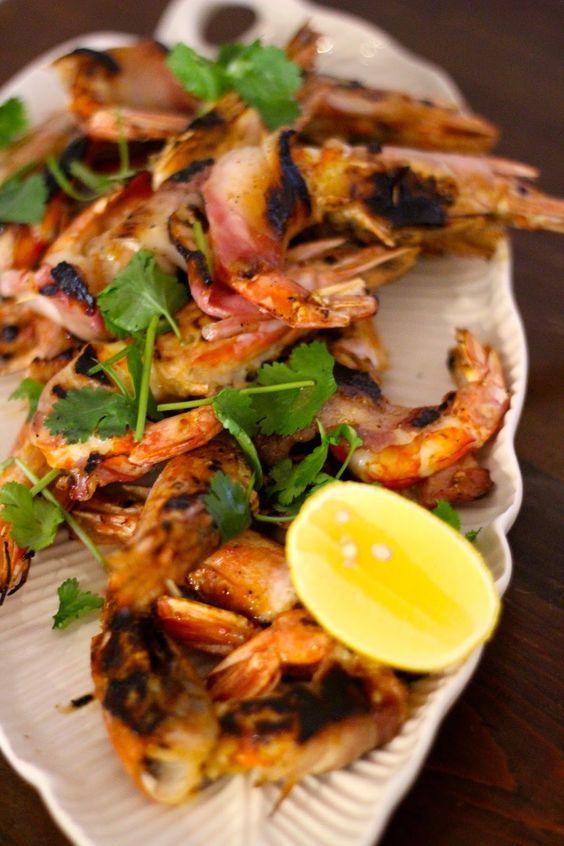 As Minhas Receitas: Camarões Grelhados com Bacon