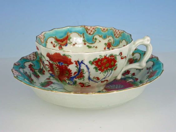 First Period Worcester Jabberwocky Pattern Teacup & Saucer image ..
