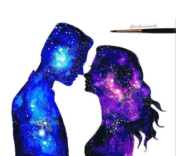 Amazing watercolours  Do you like the blue or the purple galaxy more?  _ Art by @aishaaaaah _ Follow @artistic_discover   _ #artistic_dome #watercolours #galaxy #artoftheday