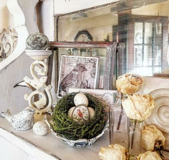 Beautiful vintage birds vignette with found treasures