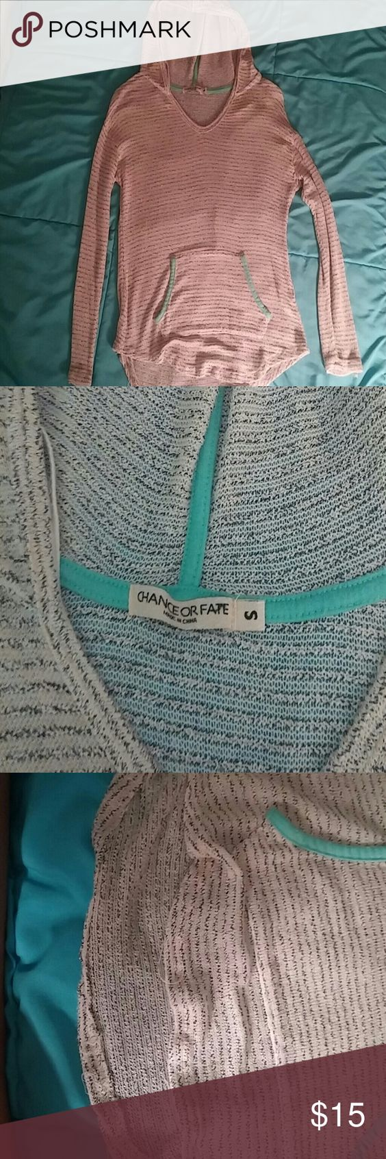 Striped knit hoodie Cute only worn 2x detailed a little chance of fate  Sweaters
