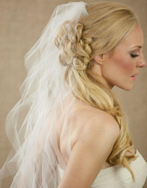 Wedding Veil Bridal Veil Whimsical Sheer Spiral Curls