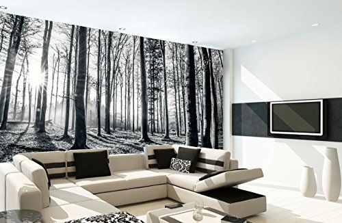 1wall Nature Forest Wall Mural Wood Black And White 3 15 X 2 32 M Amazon Co Uk Kitchen Home Forest Wall Mural Wall Murals Uk Wall Wallpaper