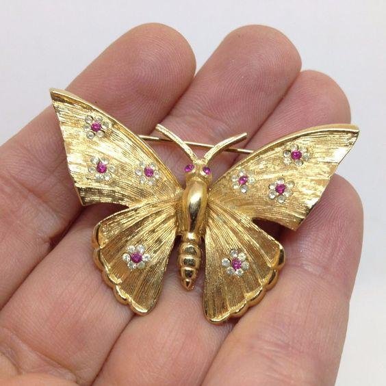 Goldtone Butterfly Pin Brooch by BSK Co.