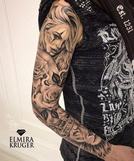 Unterarm Tattoo Mann Vorlagen Skull Sleeve 3