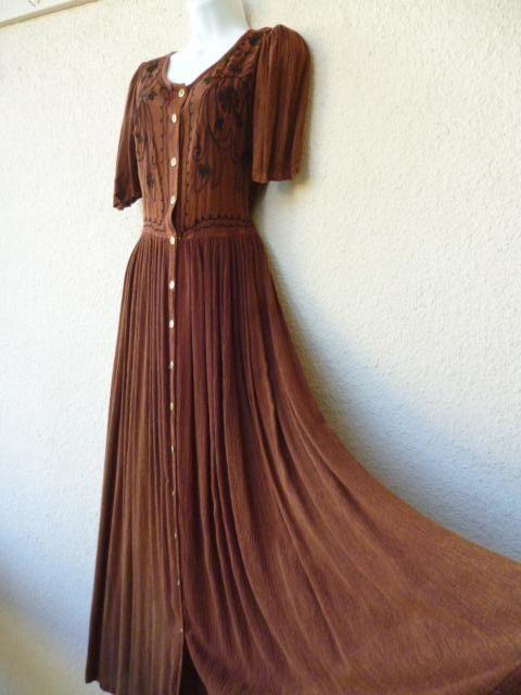 1990s Maxi Dress Size Medium Boho Patchwork Dress Rayon Maxi