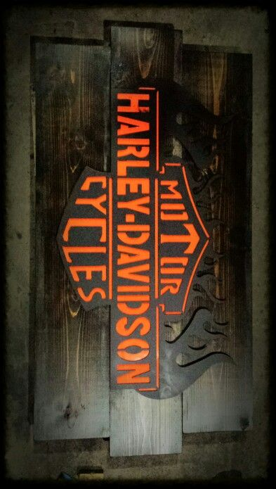 Metal and wood harley davidson sign id es pour la maison for Decoration maison harley davidson