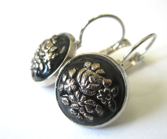 Vintage glass button earrings, black glass with silver floral design