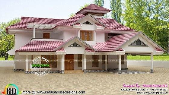 Tile Roof House Designs In Kerala House Roof House Design Roof Design