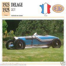 DELAGE  2LCV 1923 1925  CAR VOITURE FRANCE CARTE CARD FICHE