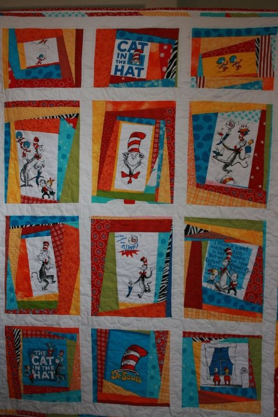 Dr. Seuss quilt. Maybe have each student draw a scene from their favorite Dr. Seuss book and put them all together to create a classroom quilt.: