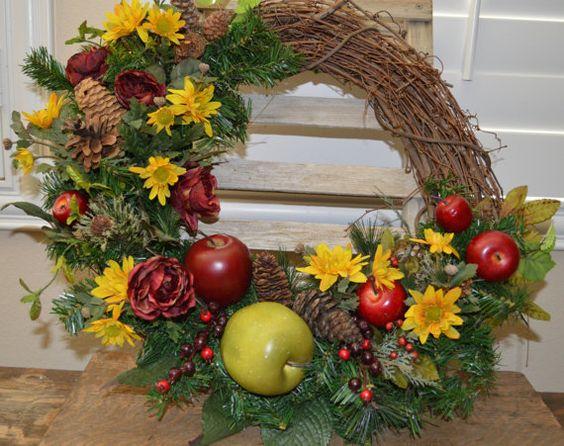 Apple Wreath Kitchen Wreath Door Wreath Apple by TheBloomingWreath, $59.99