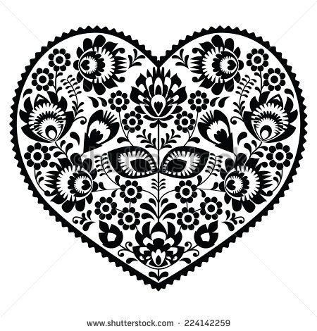 Polish black folk art heart pattern on white - wzory łowickie, wycinanki by…