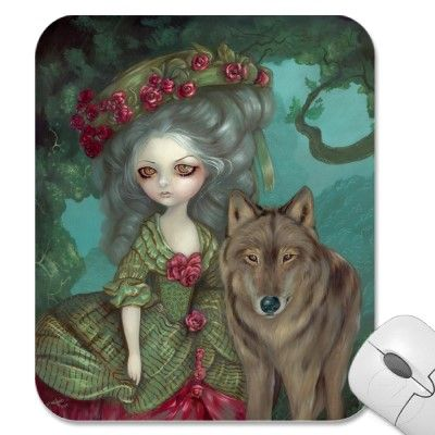 Loup-Garou:  La Foret rococo wolf Mousepad by strangeling  Jasmine Becket-Griffith