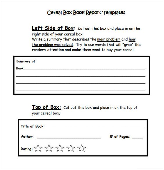 2nd grade book report - Google Search School Days Pinterest - sample cereal box book report template