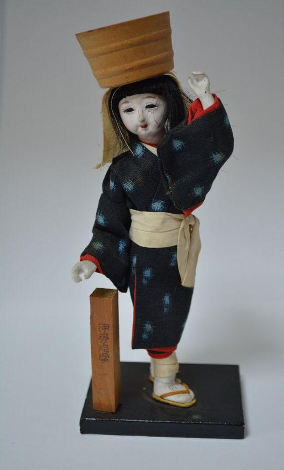 Vintage Japanese folk craft doll, mingei folk craft doll