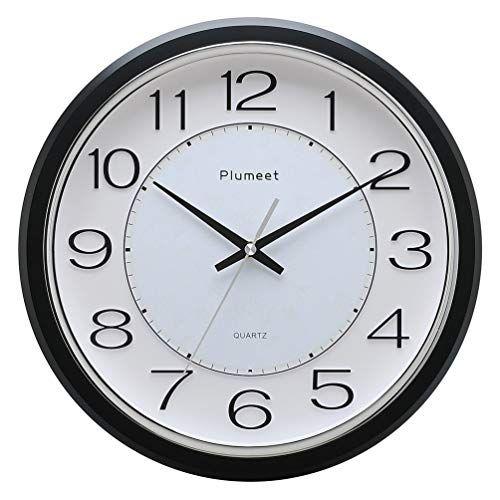 Plumeet 12 5 Silent Wall Clock Non Ticking Classic Retro Wall Clock Decorative Living Room Bedroom Outdoors Battery Operated Quartz Large Quiet Wall Clock