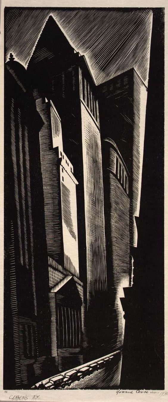 Canyons N.Y., 1928   Howard Cook