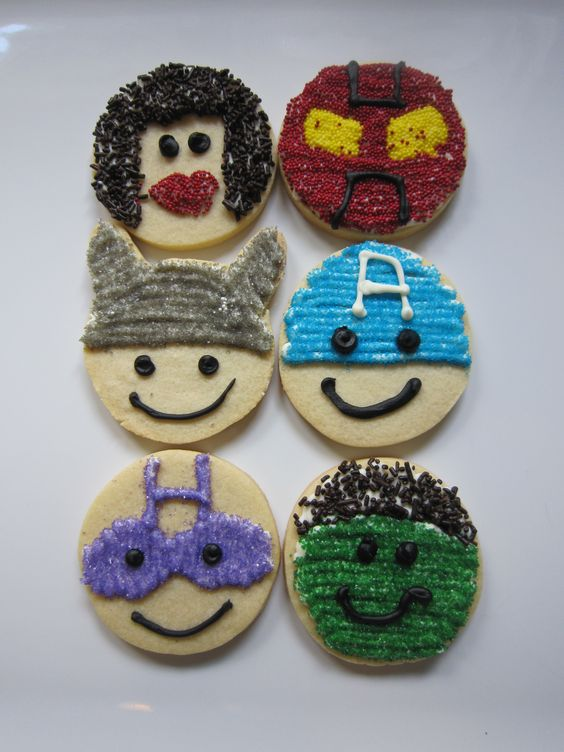 Avengers cut out cookies, Black Widow, Iron Man, Thor, Captain America, Hawkeye and Hulk