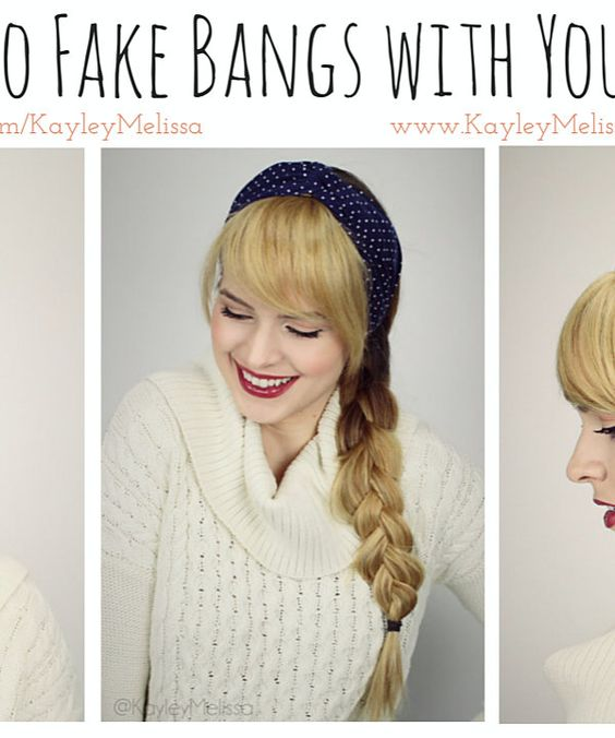 ... - How to Fake Bangs! - Hair - Pinterest - Fake bangs and Bangs