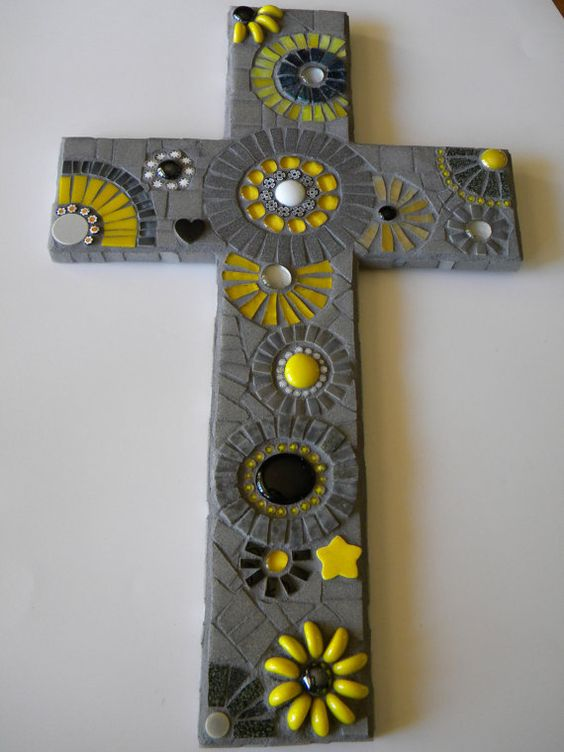 Dramatic Yellow & Black Mosaic Cross
