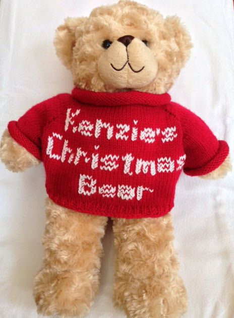 Knitted personalized stuffed bear sweater. Bear is NOT included