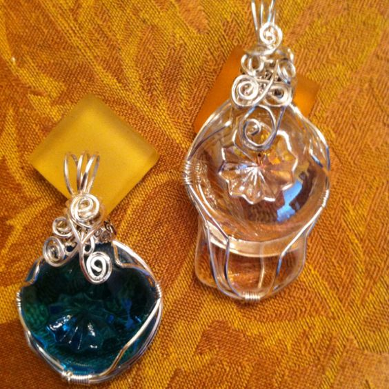 Moon and Stars glass repurposed into jewelry
