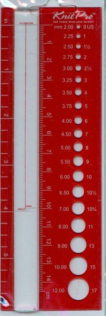 Régua Medidora de Agulhas e Malhas - Knit Pro - Tricot Lãs