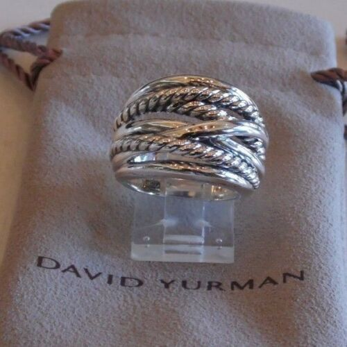 David Yurman Wide Crossover Sterling Silver Cable Band Ring Size 6 Pouch Cheap Silver Rings Raw Diamond Jewelry Silver