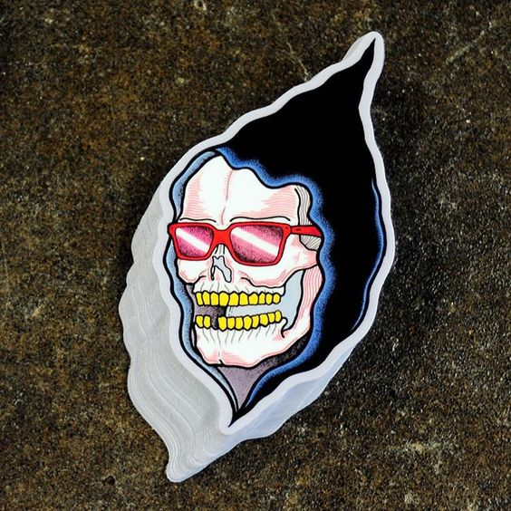 """A peek at one of the rad #sticker designs we recently printed for artist Bonethrower! aka David Cook! @bonethrower #bonethrower #skullart #rockinstickers…"""