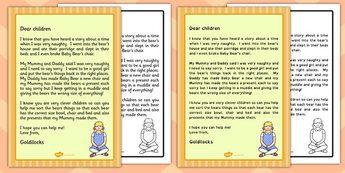 Fairytale Goldilocks' Story Retell Apology Letter