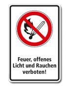 Verbotsschild Feuer, offenes Licht und Rauchen verboten (266/400) - die Schilder-Fieseler & Paulzen GmbH