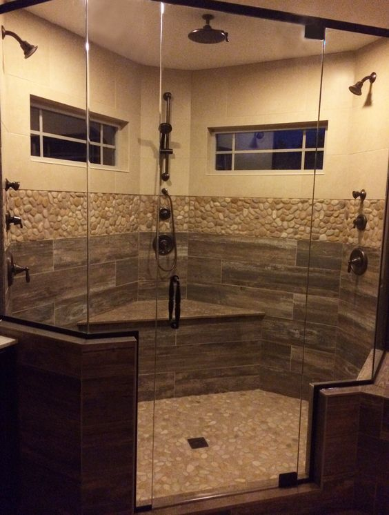 Tops floors and wood planks on pinterest for Wood and tile bathroom