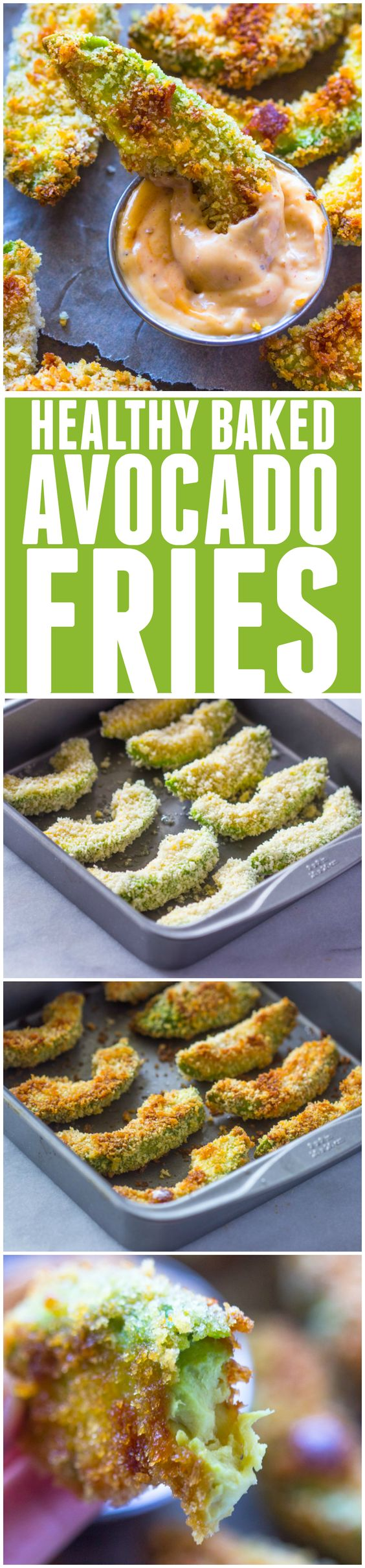 Crispy Baked Avocado Fries & Chipotle Dipping Sauce | These guilt-free fries look amazing!